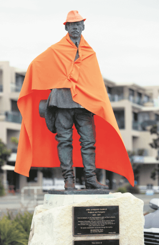 24062014/ Martin de Ruyter/ The Nelson Mail  The Abel Tasman statue near Tahunanui Beach wearing an orange hat and cape in support of the Dutch football team playing at the World Cup in Brazil.