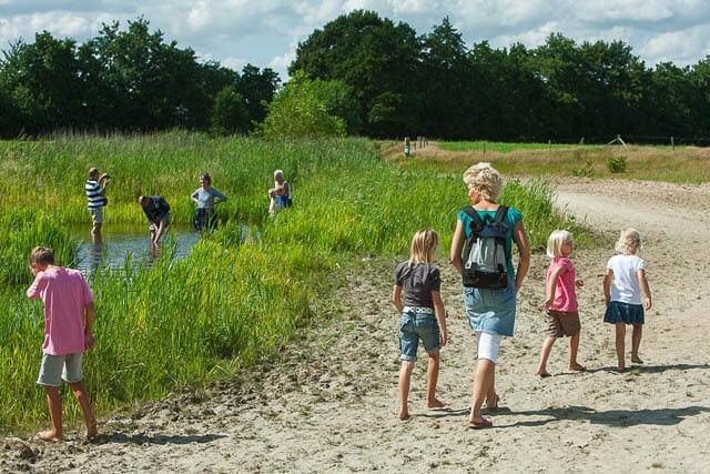 OPENDE / 11-8-2010 / Het blote voeten pad ( 't Blôde Fuottenpaad ) is een recreatiehit waar jong en oud met plezier over en door wandelen. / Foto: Omke Oudeman